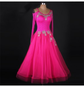 Fuchsia embroidery handmade women's long length competition stones performance ballroom waltz tango dance dresses