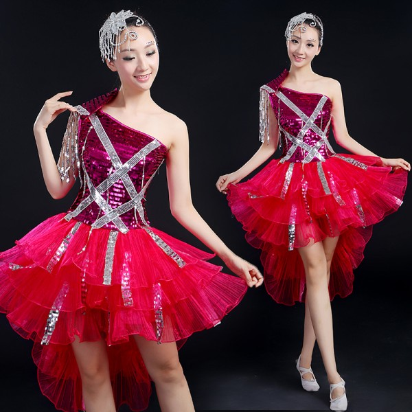 Fuchsia glitter Singer Performance dress female DS costume jazz dance clothes modern dancing ...