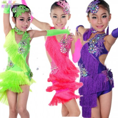 Fuchsia green Latin Dance Dress Women Girls110-160cm Latin Fringe Dress Ballroom Dance Costume Dancing Clothing regata feminina