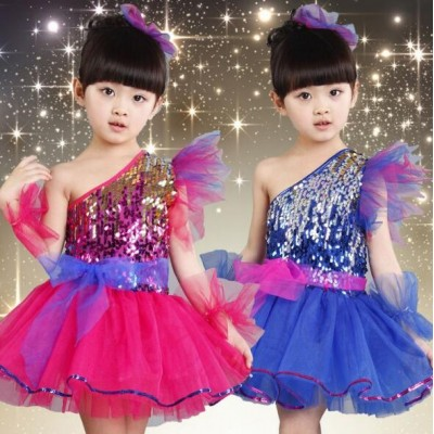 Fuchsia hot pink royal blue sequins girls kids performance jazz singers tutu ballet dresses dancewear