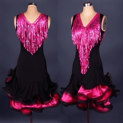 Fuchsia Sexy Ladies Club Party Show Girls Latin Ballroom Dance Vestido Danza Latina Performance Sequin Tassel Dress Salsa