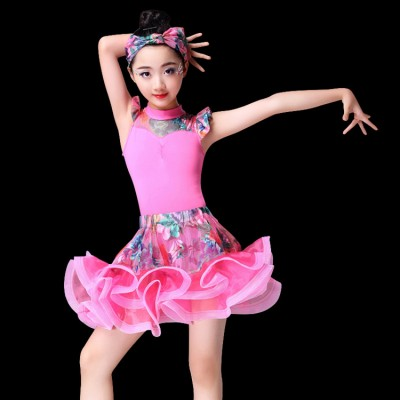 Fuchsia yellow printed Child Latin Dance Dresses Girls Dancewear Modern Dance Samba Dresses Kids Vestido Waltz Stage Dance Clothing