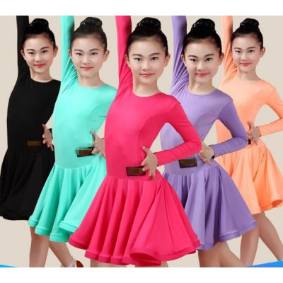 Girl Latin Dance Dress 5 Color Rose Purple orange turquoise Black Child Skirt Female Presentation Sexy Children Latin Class Game Dresses