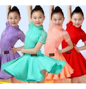 Girl Latin Dance Suit Female Showing Skirt Children Competition Fashions Teenager Girls Costumes Presentation Garment