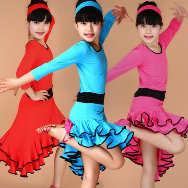 54ad10025 Girl Latin Short Sleeves Standard Latin Dance Dress Children ...