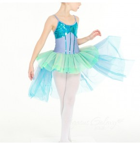 Girls ballet dress tutu skirt performance turquoise sequined modern dance cosplay dancing leotards dresses