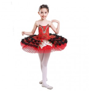 Girls ballet dresses tutu skirt professional swan lake stage pancake platter performance competition dancing costumes outfits