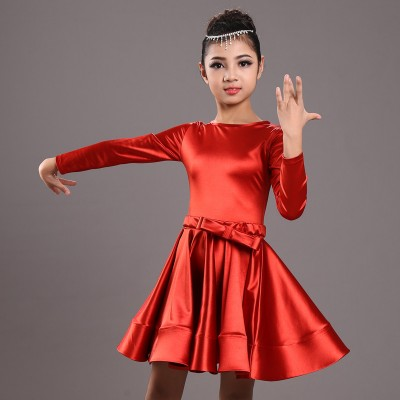 Girls ballroom dresses children kids stretchable satin gold red black competition latin dresses