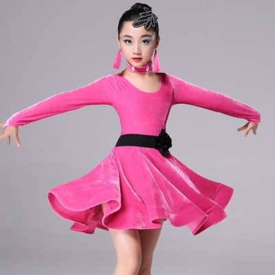 Girls ballroom latin dance dresses kids children pink blue black red stage performance competition rumba salsa chacha cosplay outfits costumes