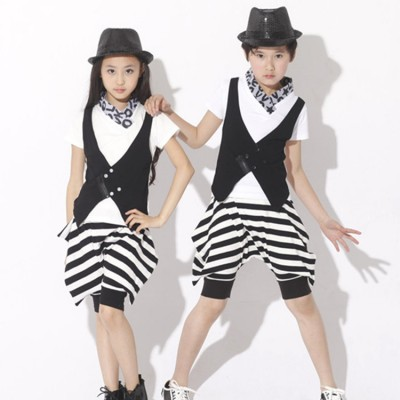 Girls boys kids children striped performance hip hop jazz singers cosplay school model show outfits costumes