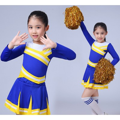 Girls cheer leader dance costumes boys kids children primary school sports performance Aerobics dancing outfits school performance uniforms