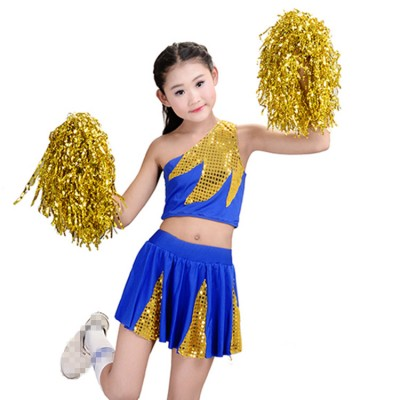 Girls cheerleader Aerobics performance hiphop children blue gold  gyms fitness exercises competition costumes