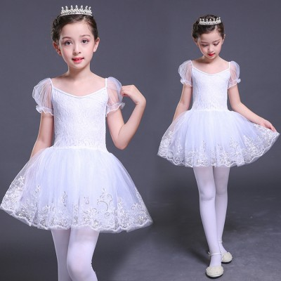 Girls children ballet dance dresses swan lake tutu skirt lace competition stage performance professional costumes