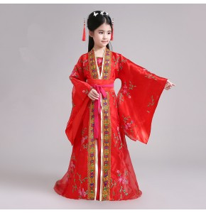 Girls Chinese ancient folk dance dresses kids children girl's classical fairy stage performance princess film cosplay photos dance robes kimono dresses