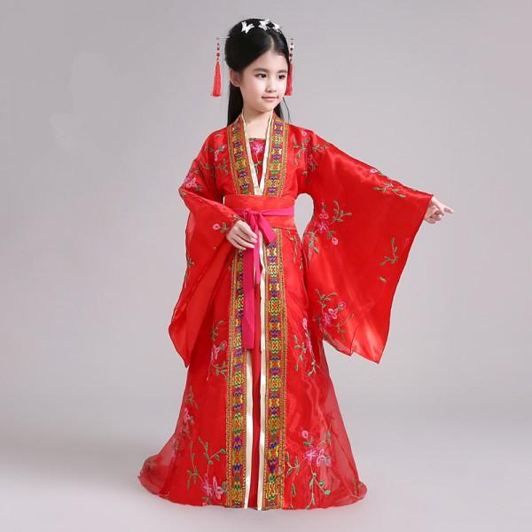 girls chinese ancient folk dance dresses kids children