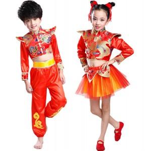 Girls Chinese dragon folk dance costumes kids boys children gold red boys drummer stage performance outfits costumes
