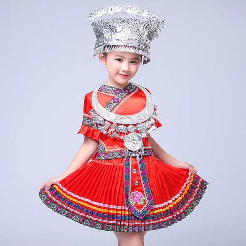 Girls Chinese Folk Dance Costume Children Hmong Chinese National Traditions Clothes  Miao Dance Costume Stage wear