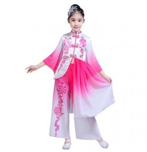 Girls chinese folk dance costumes for kids children anime fairy drama photos cosplay fuchsia royal blue ancient traditional dancing dresses
