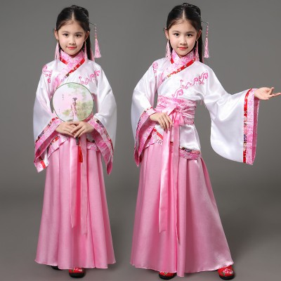 Girl's Chinese folk dance costumes light pink purple blue children kids stage performance competition princess classical film cosplay kimono dresses