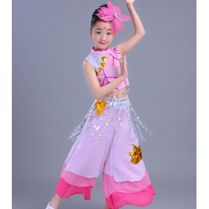 Girls Chinese folk dance costumes pink umbrella traditional performance fairy film cosplay photos dancing dresses
