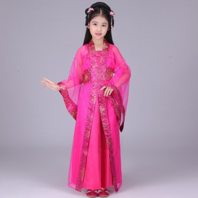 Girl's Chinese folk dance dresses fairy ancient classical children kids princess drama anime cosplay dancing robes costumes