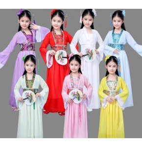 Girls Chinese folk dance dresses kids children pink yellow princess ancient fairy kimono dance cosplay performance robes dancing dresses