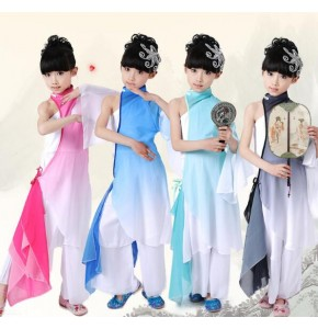 Girls Chinese perform drum Costumes Gradient Color Children Fan Yangko Classical Dance costumes Stage Performance Clothing