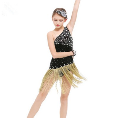 Girls competition latin dress for kids children diamond gold silver black performance ballroom salsa chacha dance dress