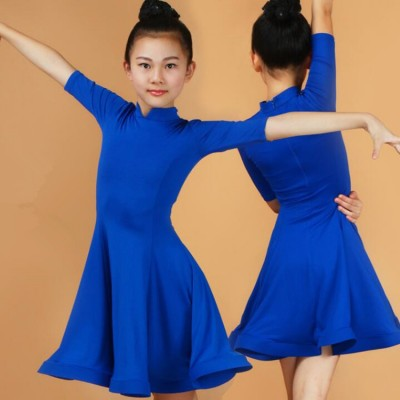 Girls competition latin dresses for kids children blue red mint purple black ballroom dance dresses exercises school performance dancewear