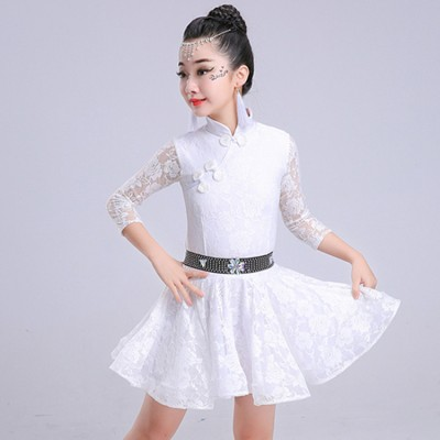 Girls competition latin dresses white pink stage performance school dancing ballroom salsa chacha dance costumes dress