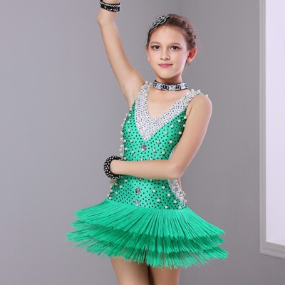 Girls competition performance latin dress for kids children stones fringes green violet salsa chacha dance dress