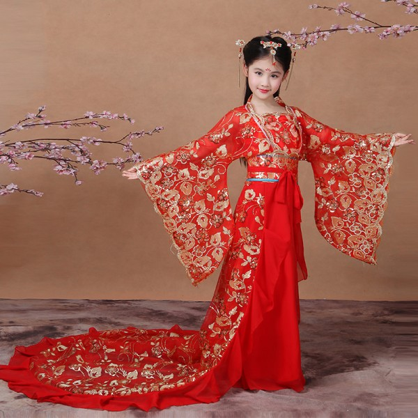 Girls Fairy Chinese Folk Dance Dresses Kids Children Red