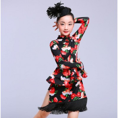 Girls floral latin dress kids children pink black printed long sleeves competition performance latin ballroom dance dresses
