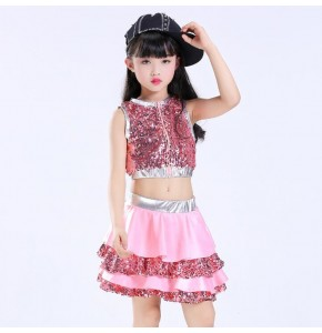 Girls jazz dance dress cheerleaders school competition performance pink hiphop street singers dancers dancing  outfits