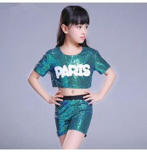 Girls jazz dance outfits children school green paillette modern street dance cheerleaders cosplay hiphop show dancing tops and shorts