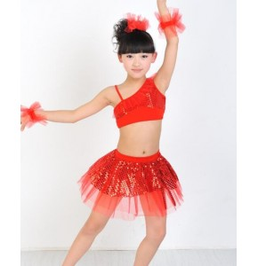 Girls Jazz/Latin/Ballet Dance Costume Kids Party Dress up Dancing Top Skirt Performances Stage Outfit