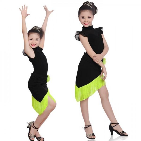 5f758dac8299 Girls Kids Children Modern Ballroom Latin Dance Dress Green Fringe Salsa  Tango Dance Wear Black Performance Stage Wear- Material : Microfiber and ...