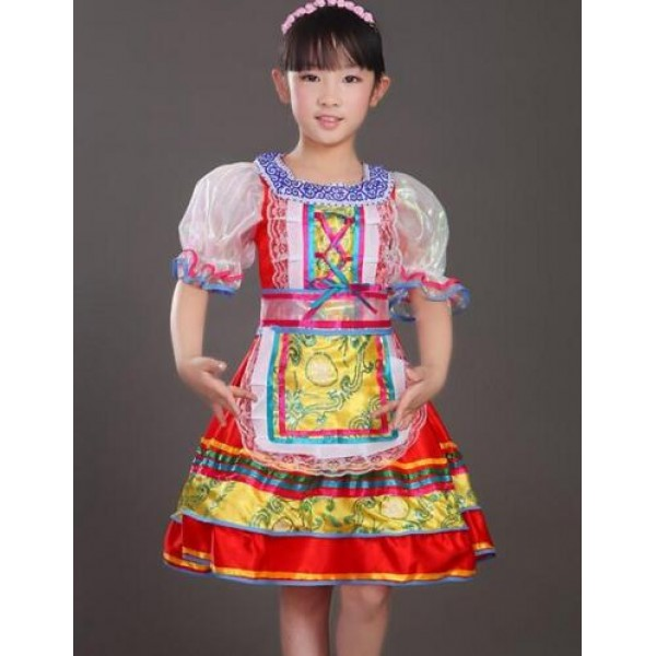 Girls Kids Red High Quality Traditional Russian National