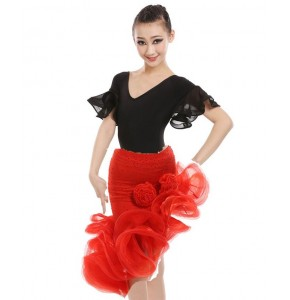 Girls latin dance dresses stones competition stage performance salsa chacha rumba latin dance dresses top skirts