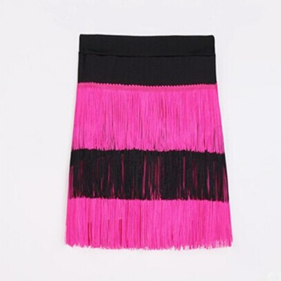 Girls latin dance skirts fringes black performance competition salsa rumba chacha dance skirts