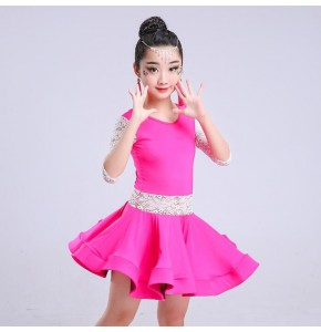 Girls latin dress competition stage school performance pink black lace ballroom rumba chacha dance dresses