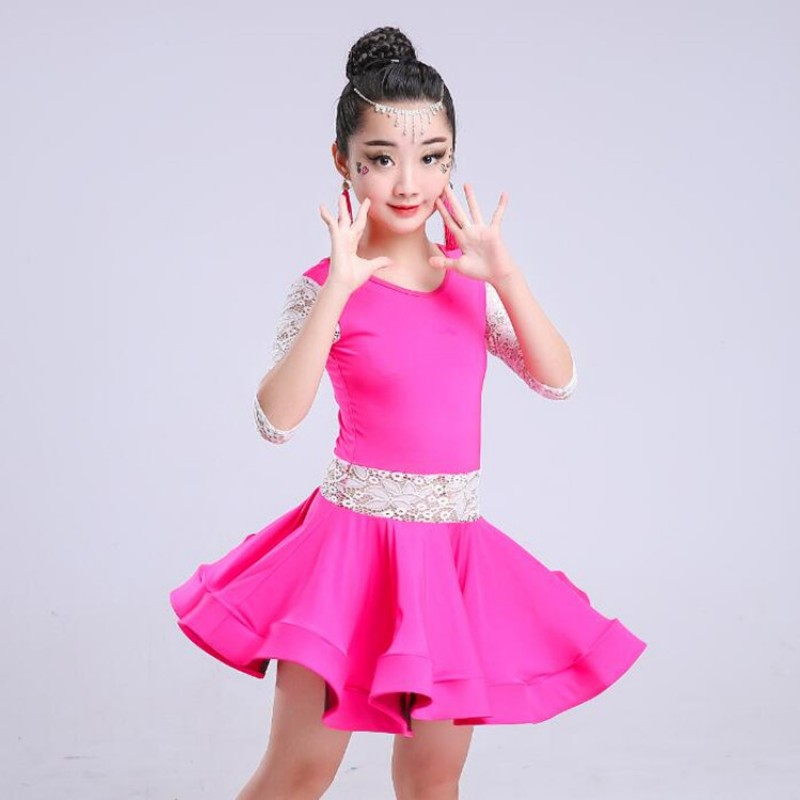 1ecc070565c0 Girls latin dress competition stage school performance pink black lace  ballroom rumba chacha dance dresses