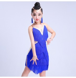 Girl's latin dress for children kids royal blue pink white red fringes competition stage performance latin salsa rumba dresses
