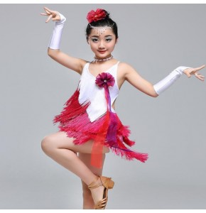 Girls latin dress for children performance competition salsa rumba white pink violet fringes dance dress