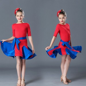 Girls latin dress for kids children red royal blue competition ballrooms salsa latin dancing dresses