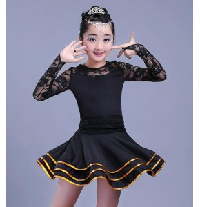 Girls latin dress for kids children stage performance red black lace long sleeves competition ballroom dresses outfits