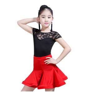 Girls latin dress lace red and black kids performance gymnastics stage performance ballroom salsa dance dresses