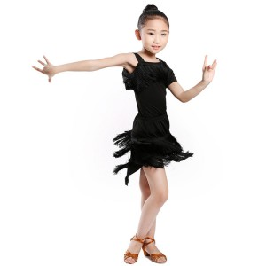 Girls latin dresses black performance competition salsa rumba dance dresses