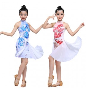 Girls latin dresses  for children floral blue pink stage performance salsa rumba dance dresses