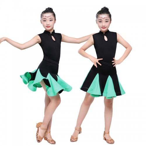 38c6e64e8b36 ... Girls latin dresses for kids children mint pink competition salsa rumba  performance latin dance dresses